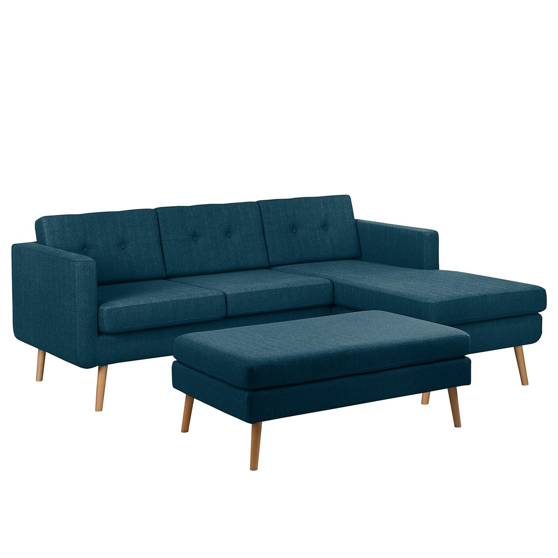 goedkoop Hoekbank Croom geweven stof Longchair vooraanzicht rechts Hocker Jeansblauw Morteens
