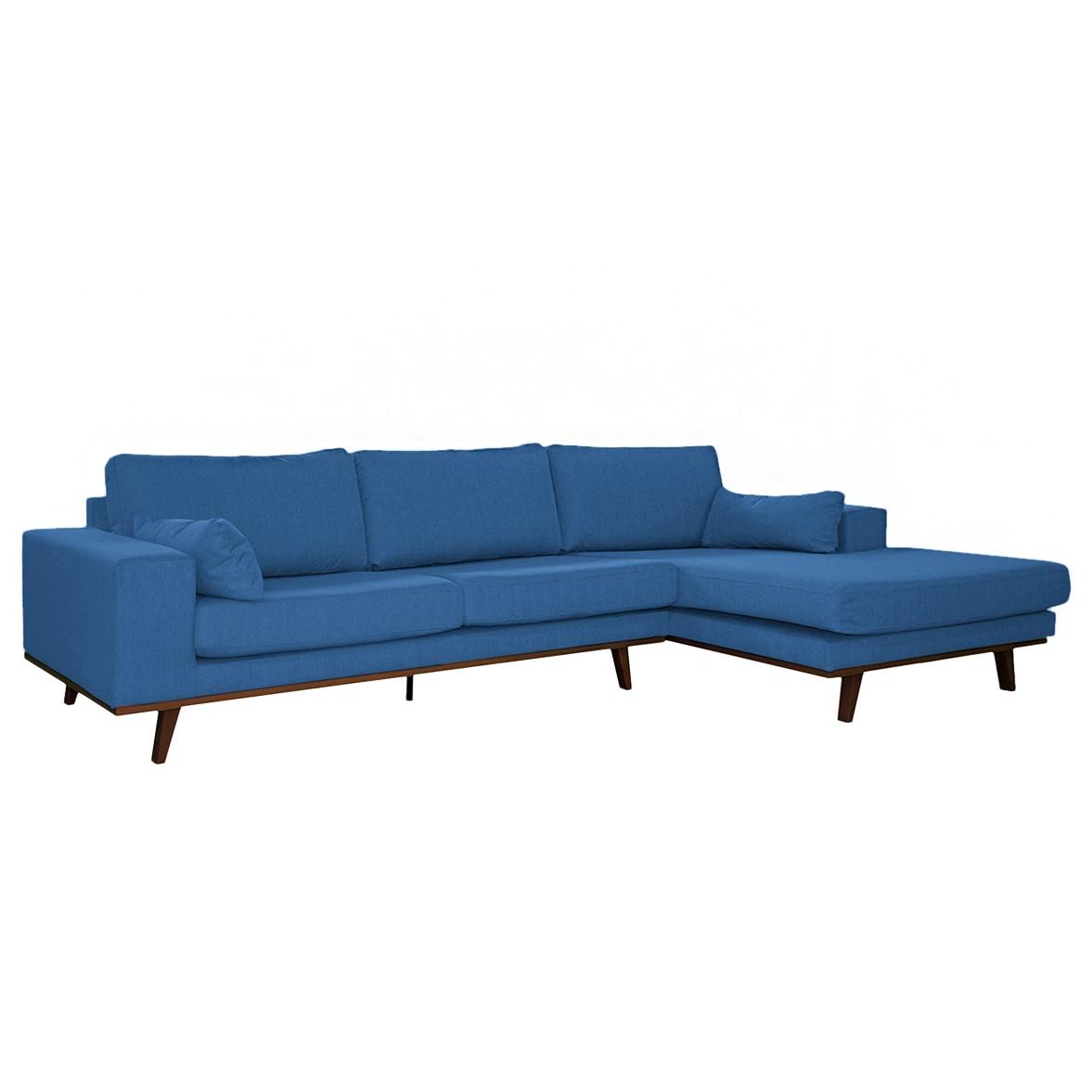 home24 Mørteens Ecksofa Billund II Brilliantblau Webstoff 282x81x151 cm (BxHxT)