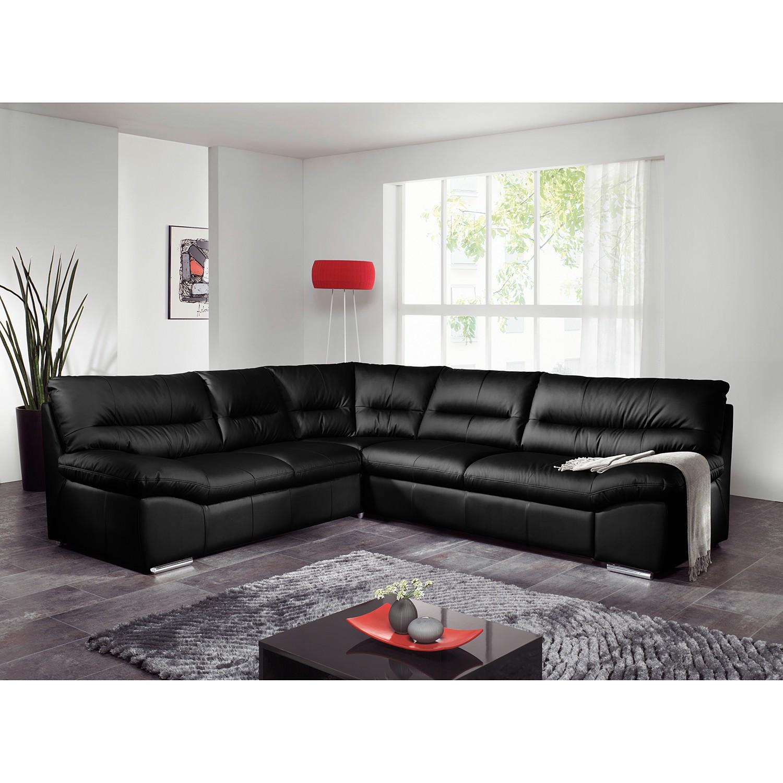 Cotta Ecksofa Doug 3-Sitzer Schwarz Echtleder 290x87x254 cm mit Schlaffunktion