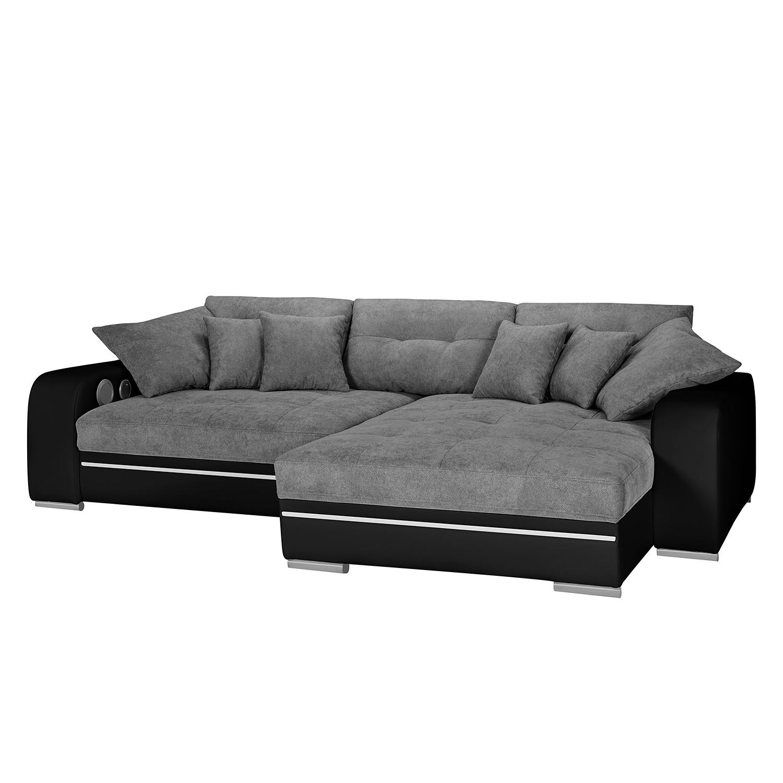 EEK A+, Canapé d'angle Dunure (convertible / avec éclairage et système Bluetooth) - Imitation cuir / Microfibre - Méridienne longue à droite (vue de face) - Noir / Gris, roomscape