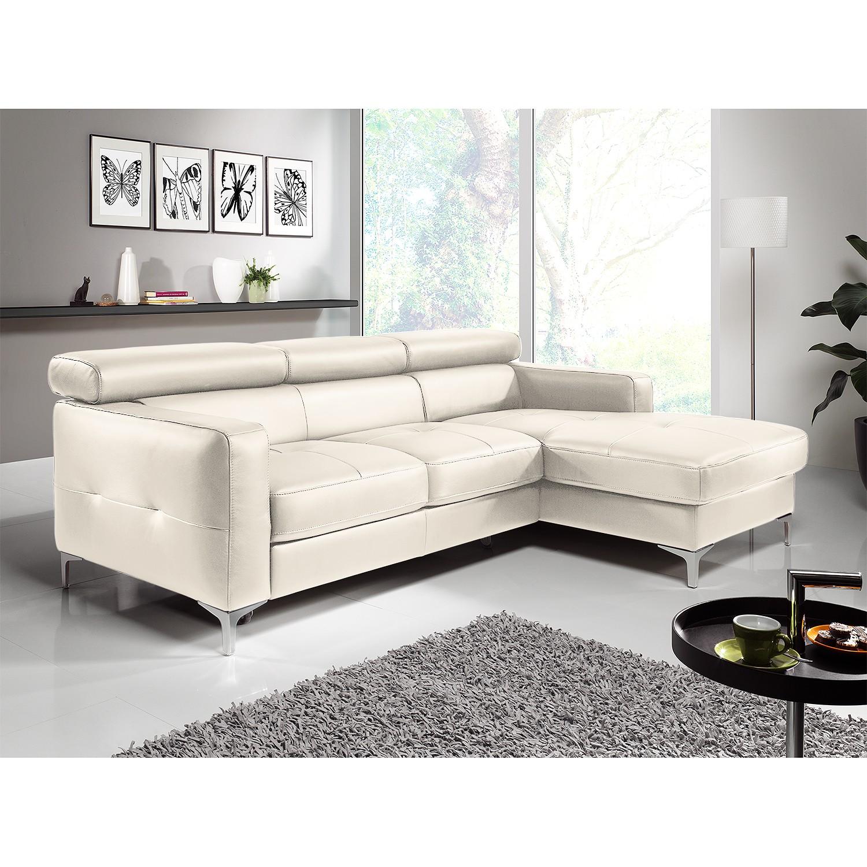 home24 Cotta Ecksofa Eduardo I 2-Sitzer Weiß Echtleder 226x74x169 cm (BxHxT) mit Schlaffunktion/Bettkasten Modern
