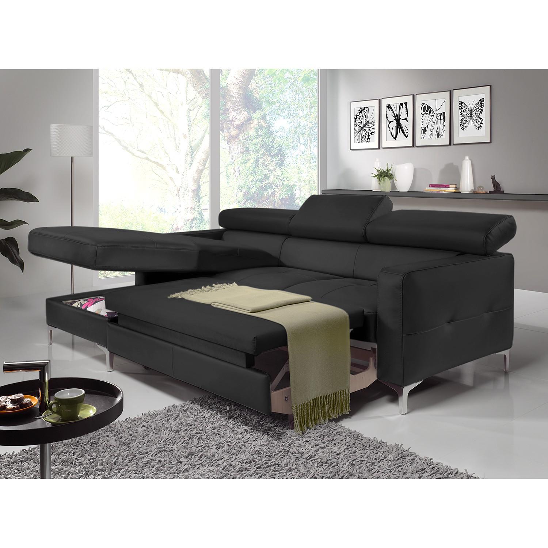 home24 Cotta Ecksofa Eduardo 2-Sitzer Schwarz Kunstleder 226x74x169 cm (BxHxT) mit Schlaffunktion/Bettkasten Modern