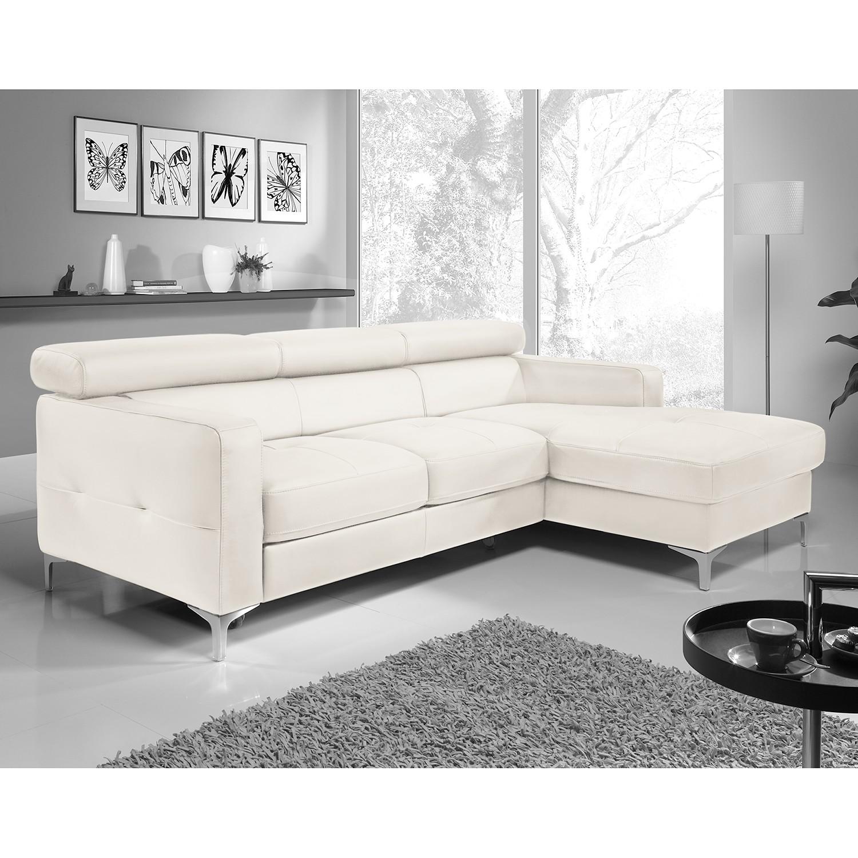 home24 Cotta Ecksofa Eduardo 2-Sitzer Weiß Kunstleder 226x74x169 cm (BxHxT) mit Schlaffunktion/Bettkasten Modern