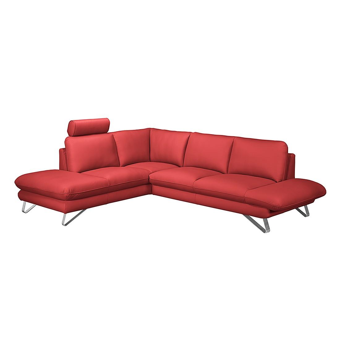 home24 Fredriks Ecksofa Enzo 2,5-Sitzer Kaminrot Echtleder 276x83x220 cm (BxHxT) Modern