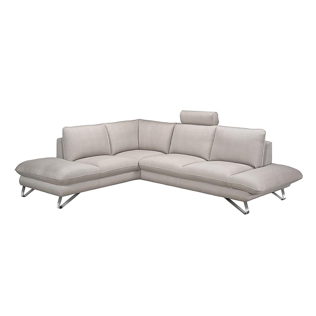 home24 Fredriks Ecksofa Enzo 2,5-Sitzer Beige Strukturstoff 276x83x220 cm (BxHxT) Modern