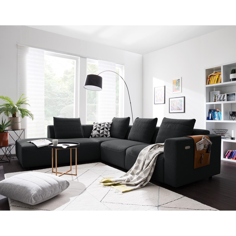 home24 Studio Copenhagen Ecksofa Finny III Anthrazit Webstoff 283x83x237 cm (BxHxT) Modern