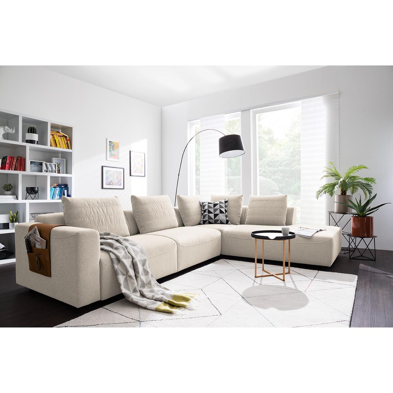 home24 Studio Copenhagen Ecksofa Finny IV Beige Webstoff 317x83x237 cm (BxHxT) Modern