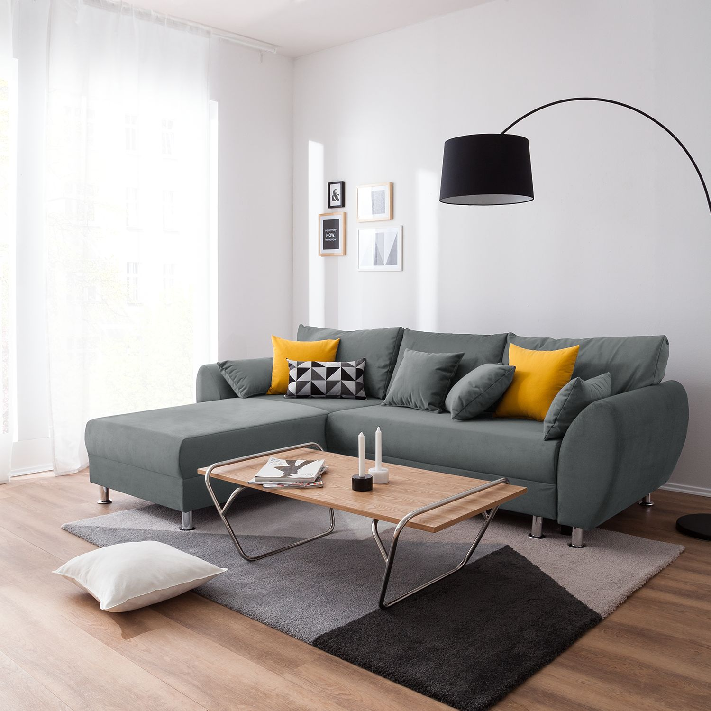 home24 roomscape Ecksofa Glenrock Grau Microfaser 273x82x188 cm (BxHxT) mit Schlaffunktion/Bettkasten Modern
