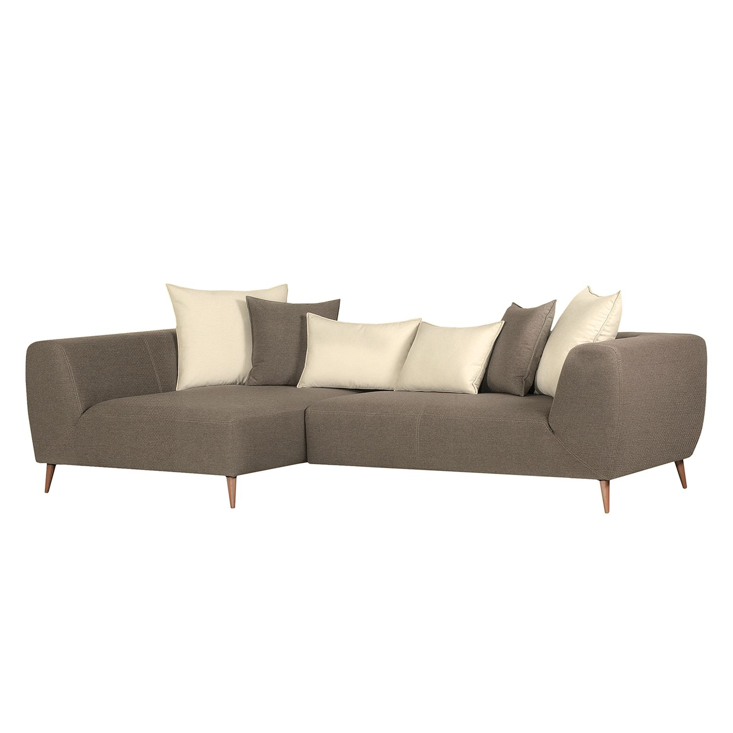 home24 Ecksofa Goodluck Webstoff Taupe