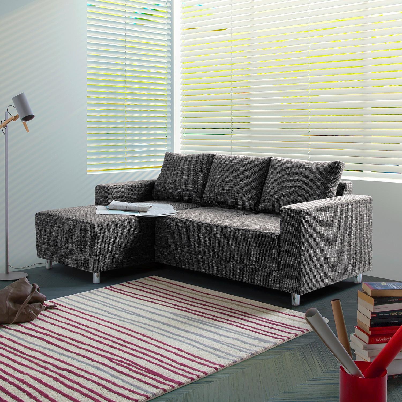 home24 Fredriks Ecksofa Greenwood 2-Sitzer Schwarz Strukturstoff 200x72x144 cm (BxHxT) Modern