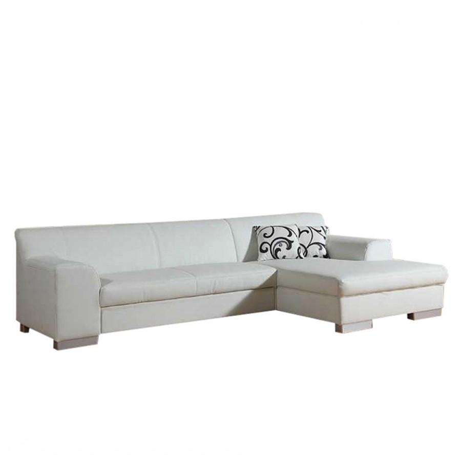 goedkoop 3zitsbank Hampton met slaapfunctie en longchair kunstleer wit longchair vooraanzicht rechts Home Design