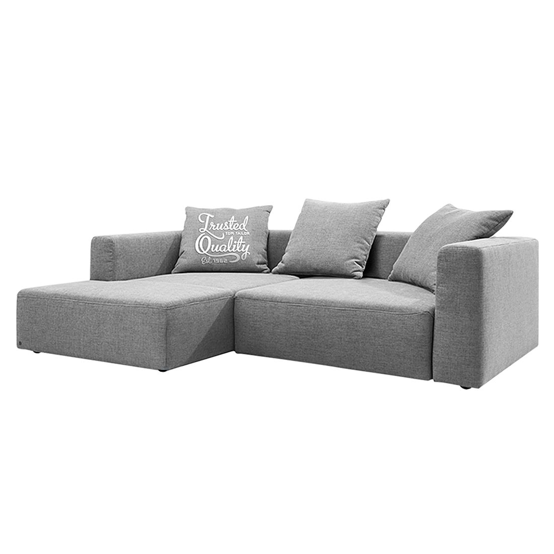 home24 Tom Tailor Ecksofa Heaven Casual Hellgrau Webstoff 242x66x162 cm mit Schlaffunktion