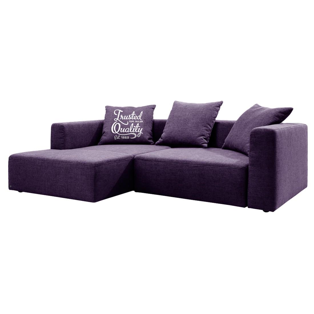 goedkoop Hoekbank Heaven Casual longchair vooraanzicht links Met slaapfunctie Stof TCU47 very purple Tom Tailor
