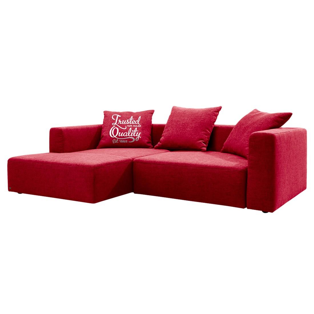 goedkoop Hoekbank Heaven Casual longchair vooraanzicht links Met slaapfunctie Stof TCU7 warm red Tom Tailor