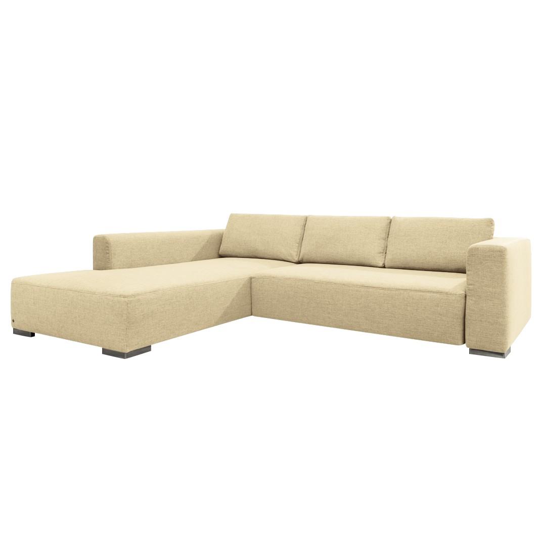 goedkoop Hoekbank Heaven Colors Style M geweven stof longchair vooraanzicht links Met slaapfunctie Stof TCU1 warm beige Tom Tailor