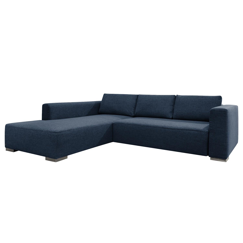 goedkoop Hoekbank Heaven Colors Style XL geweven stof longchair vooraanzicht links Met slaapfunctie Stof TCU16 navy blue Tom Tailor