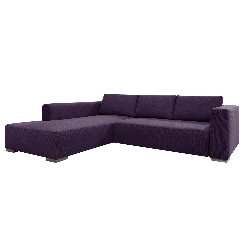 goedkoop Hoekbank Heaven Colors Style XL geweven stof longchair vooraanzicht links Met slaapfunctie Stof TCU47 very purple Tom Tailor