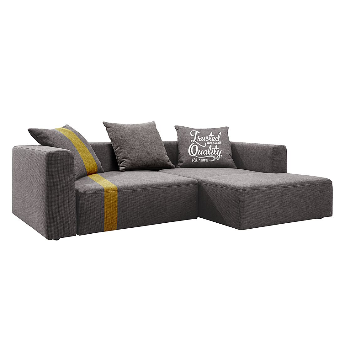 home24 Tom Tailor Ecksofa Heaven Stripe Longchair 2-Sitzer Grau/Senfgelb Webstoff 242x66x162 cm