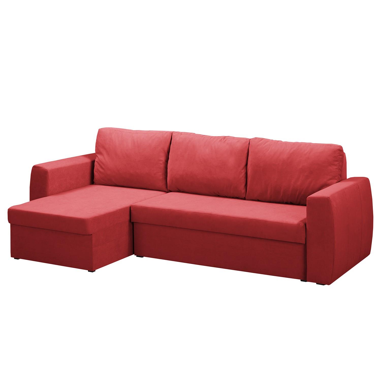 goedkoop Hoekbank Honley met slaapfunctie microvezel longchair aan allebei de kanten monteerbaar Rood Fredriks