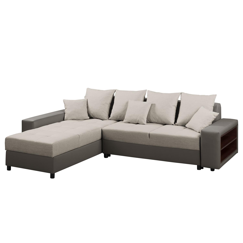 Canapé d'angle Huby (convertible)- Tissu / Imitation cuir - Méridienne longue à gauche (vue de face) - Cappuccino / Gris marron, Fredriks