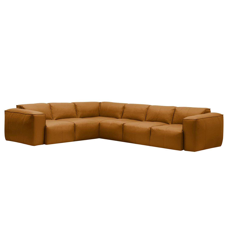 Ecksofa Hudson VI Echtleder - 3-Sitzer davorstehend rechts - Echtleder Neka Cognac
