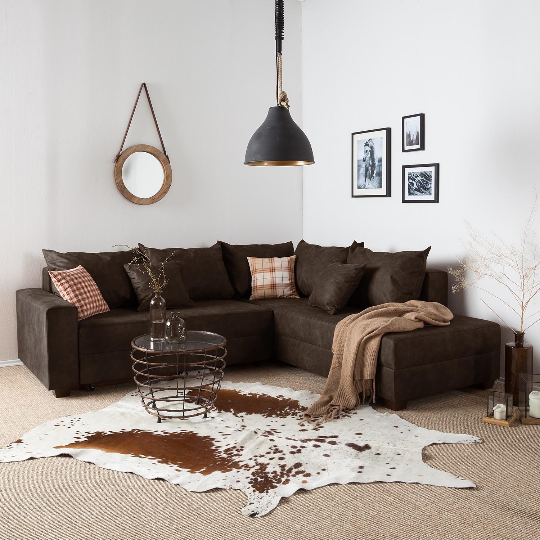 home24 roomscape Ecksofa Inywa Dunkelbraun Microfaser 245x70x215 cm (BxHxT) mit Schlaffunktion/Bettkasten Industrial