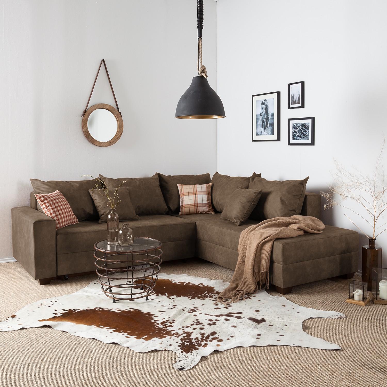 home24 roomscape Ecksofa Inywa Mittelbraun Microfaser 245x70x215 cm (BxHxT) mit Schlaffunktion/Bettkasten Industrial