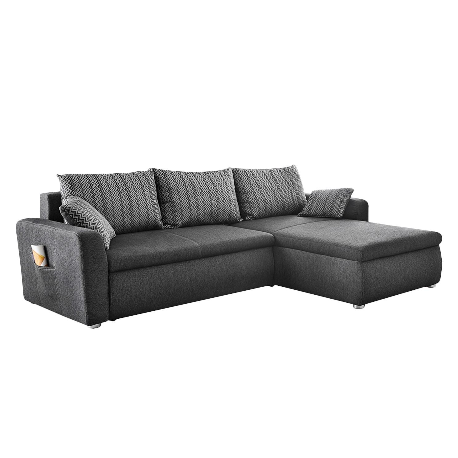 Canapé d'angle Jaru (convertible / Méridienne à droite ou gauche vue de face) - Toile tissée à plat - Anthracite, Home Design