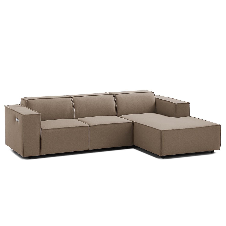 home24 Ecksofa Kinx I 2-Sitzer Cappuccino Strukturstoff 260x70x177 cm (BxHxT) Modern