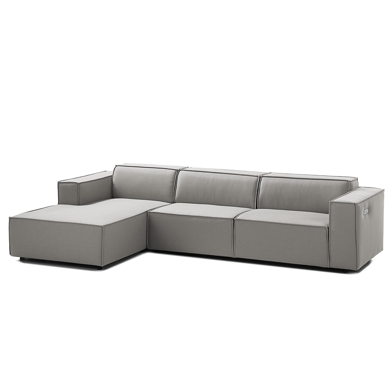 home24 Ecksofa Kinx II 2,5-Sitzer Graubraun Strukturstoff 294x70x177 cm (BxHxT) Modern