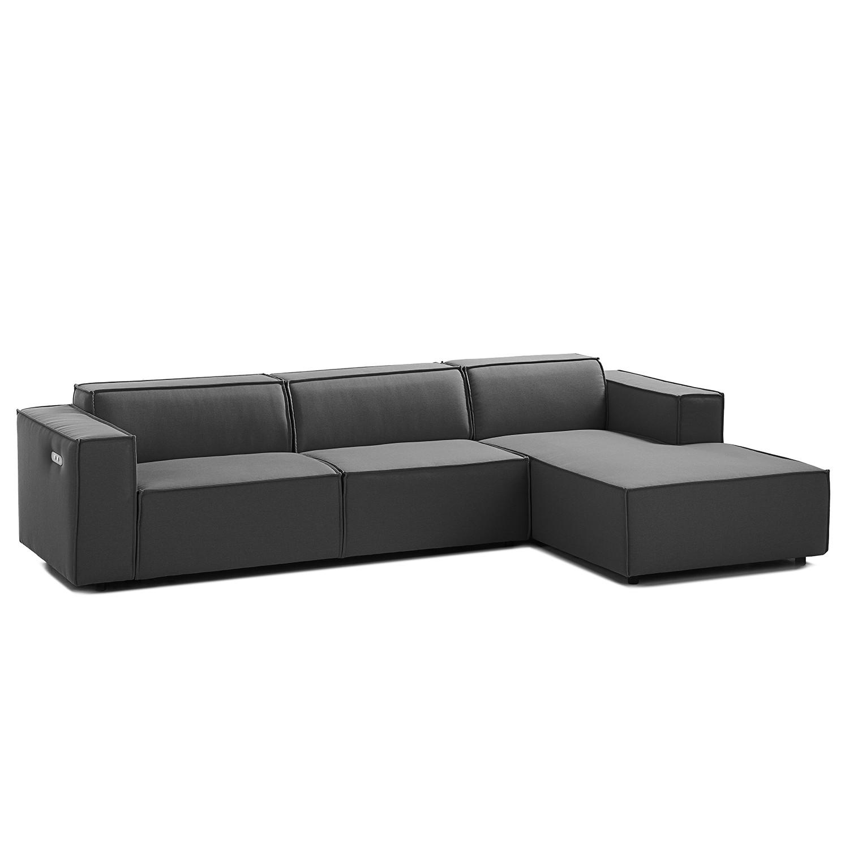 home24 Ecksofa Kinx II 2,5-Sitzer Anthrazit Strukturstoff 294x70x177 cm (BxHxT) Modern