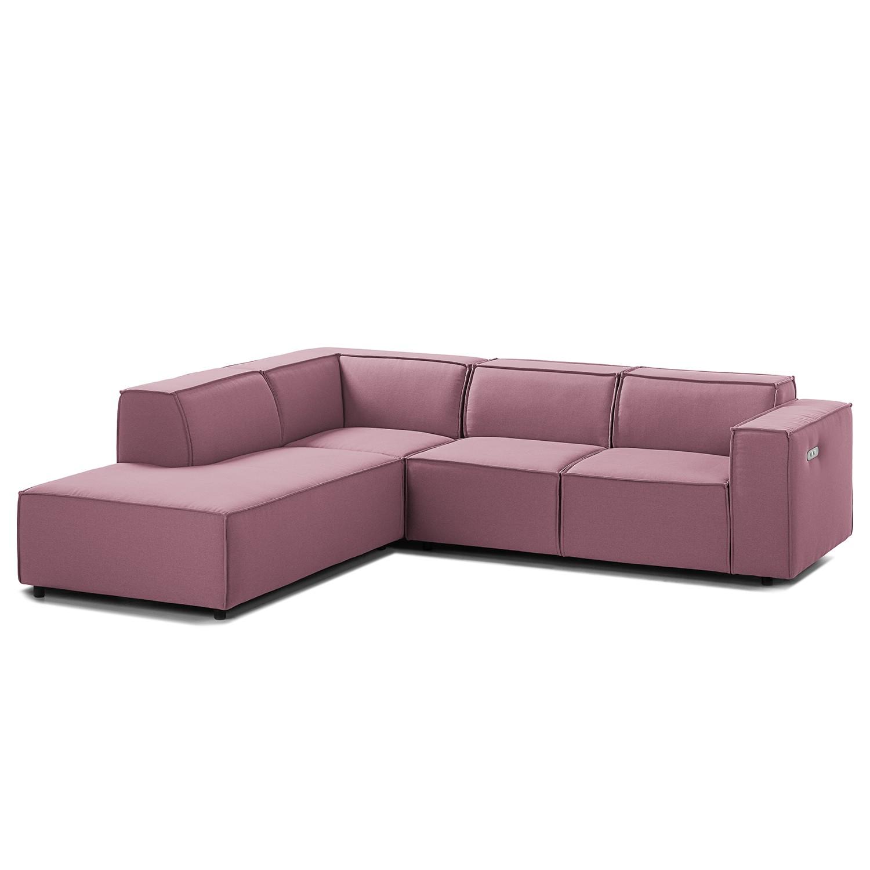 home24 Ecksofa Kinx III 2-Sitzer Flieder Strukturstoff 259x70x234 cm (BxHxT) Modern
