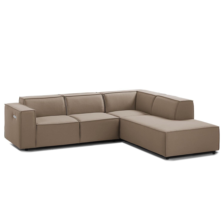 home24 Ecksofa Kinx III 2-Sitzer Cappuccino Strukturstoff 259x70x234 cm (BxHxT) Modern