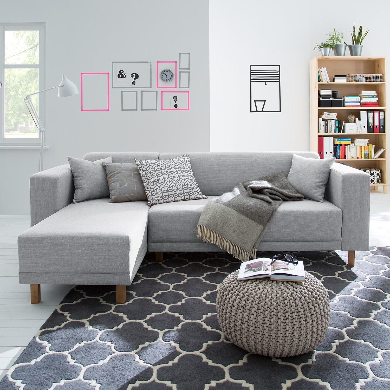 home24 KIYDOO Ecksofa KiYDOO relax Silber Webstoff 240x75x140 cm
