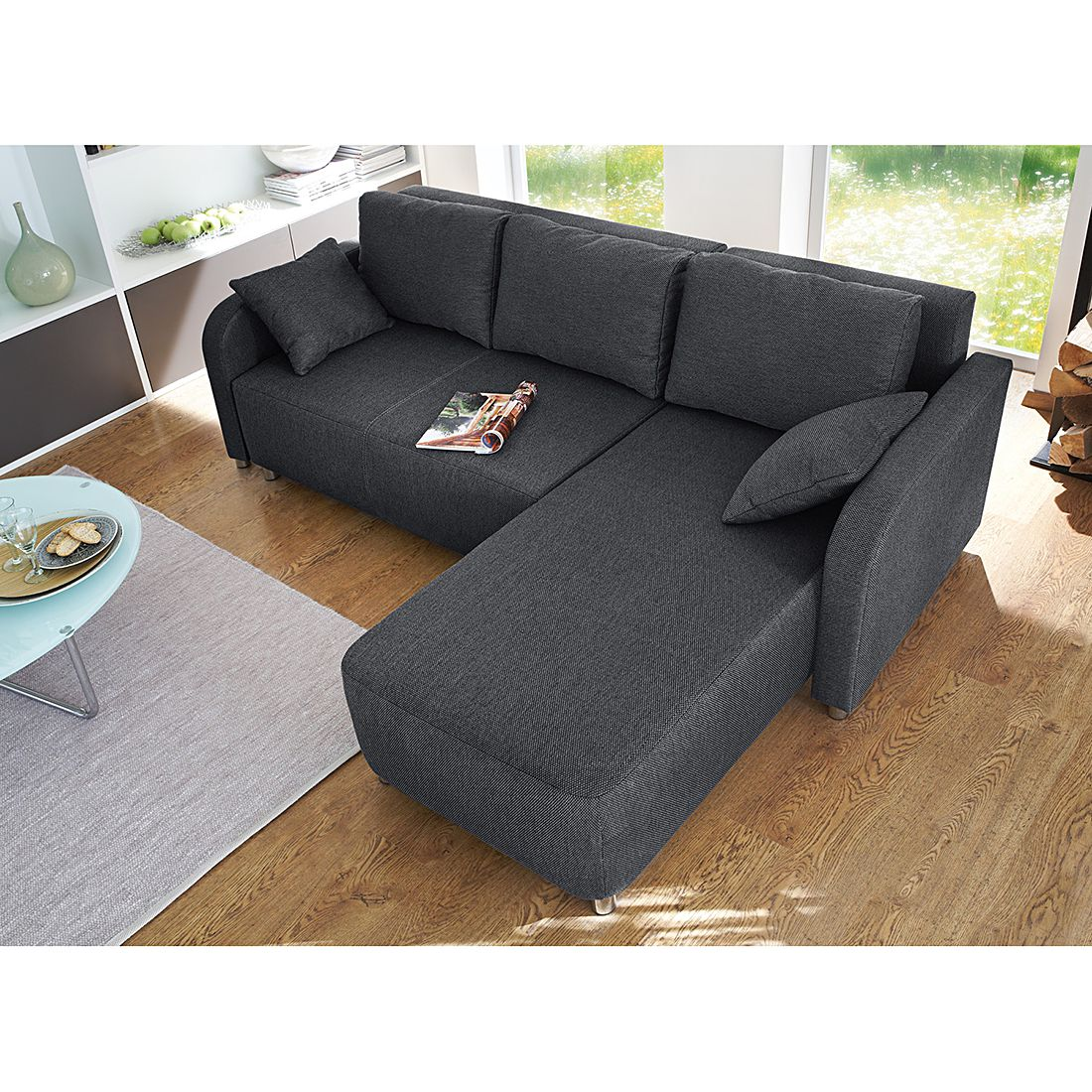 home24 loftscape Ecksofa Tetony 2-Sitzer Grau Webstoff 215x85x155 cm (BxHxT) mit Schlaffunktion Modern