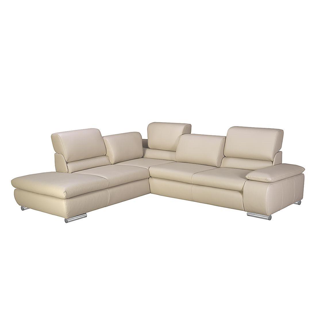 home24 Fredriks Ecksofa Masca I 2,5-Sitzer Beige Echtleder 273x78x235 cm (BxHxT) mit Schlaffunktion Modern