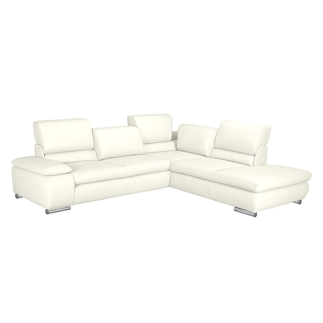 home24 Fredriks Ecksofa Masca 2,5-Sitzer Weiß Kunstleder 273x78x235 cm (BxHxT) mit Schlaffunktion Modern