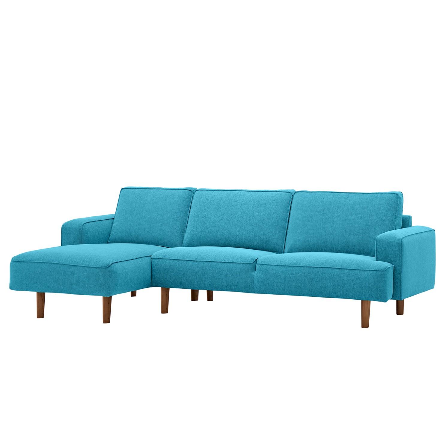 goedkoop Hoekbank Navona geweven stof longchair vooraanzicht links Walnootkleurig Stof Anda II Turquoise Studio Copenhagen