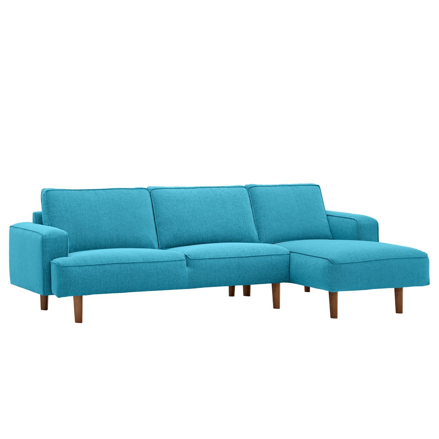 goedkoop Hoekbank Navona geweven stof longchair vooraanzicht rechts Walnootkleurig Stof Anda II Turquoise Studio Copenhagen