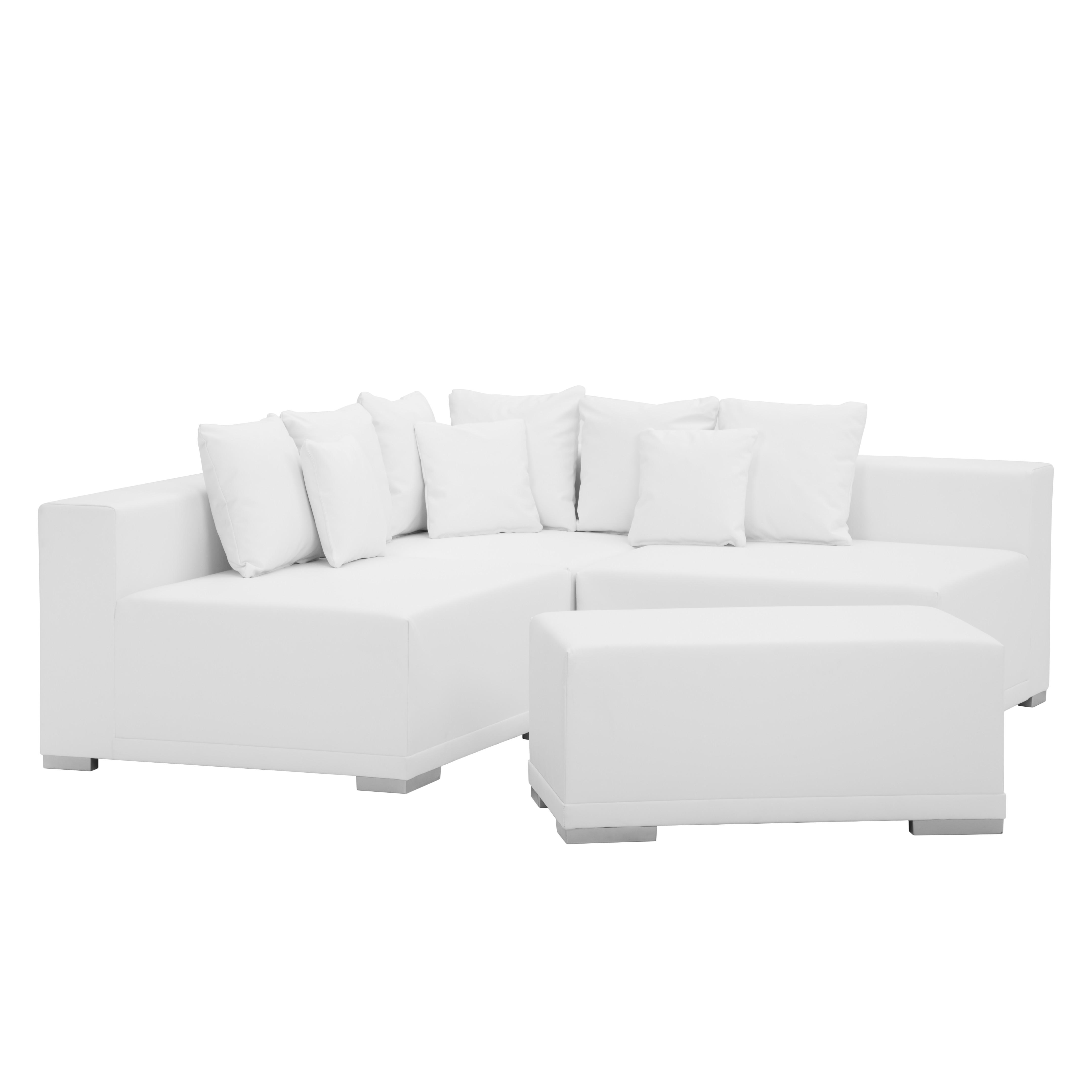 goedkoop Hoekbank Neo wit kunstleer met hocker mooved