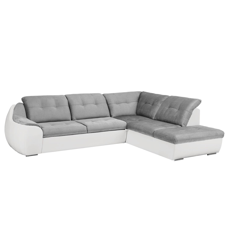Canapé d'angle New Rockford II - Imitation cuir / Microfibre - Convertible - Courte à droite (vue de face) - Blanc / Gris clair, Fredriks