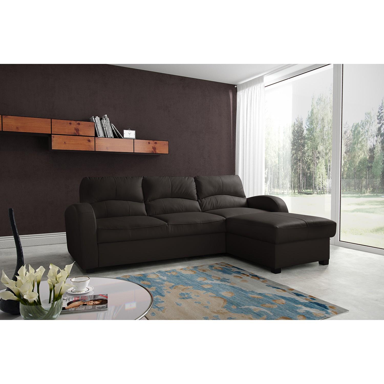 home24 Modoform Ecksofa Parilla Dunkelbraun Echtleder 229x85x168 cm (BxHxT) mit Schlaffunktion/Bettkasten Modern