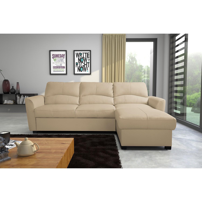 home24 Modoform Ecksofa Parilla Warmes Beige Echtleder 229x85x168 cm (BxHxT) mit Schlaffunktion/Bettkasten Modern