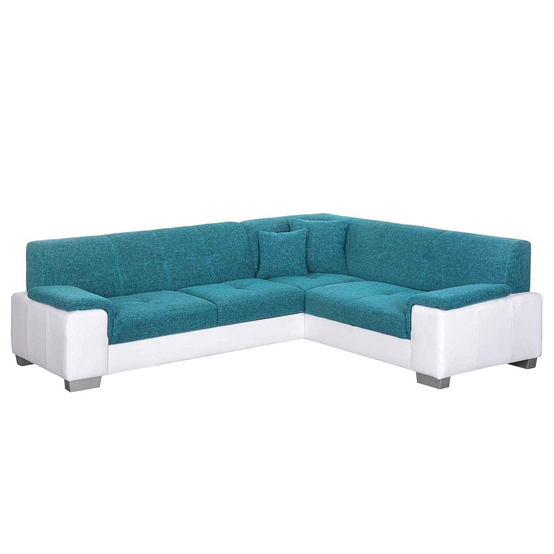Canapé d'angle Picton (convertible) - Imitation cuir / Tissu structuré - Blanc / Bleu - Fonction lit à gauche (vue de face), roomscape