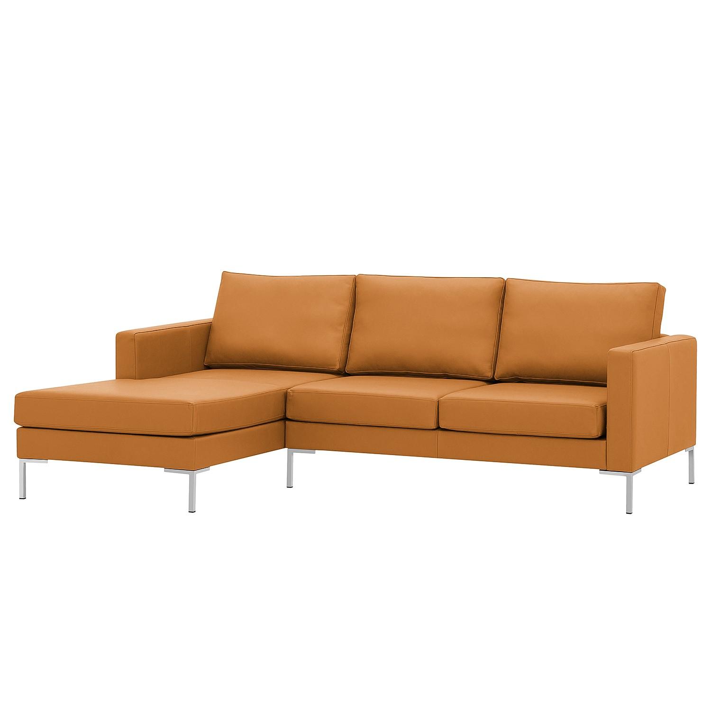 home24 Fredriks Ecksofa Portobello Cognac Echtleder 207x75x155 cm (BxHxT) Modern