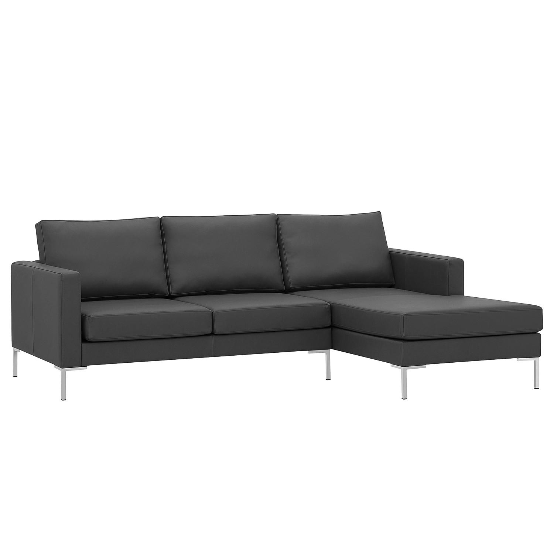 home24 Fredriks Ecksofa Portobello Anthrazit Echtleder 207x75x155 cm (BxHxT) Modern