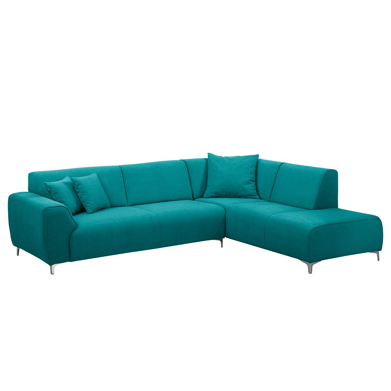 goedkoop Hoekbank Pracht microvezel Ottoman vooraanzicht rechts Turquoise Fredriks