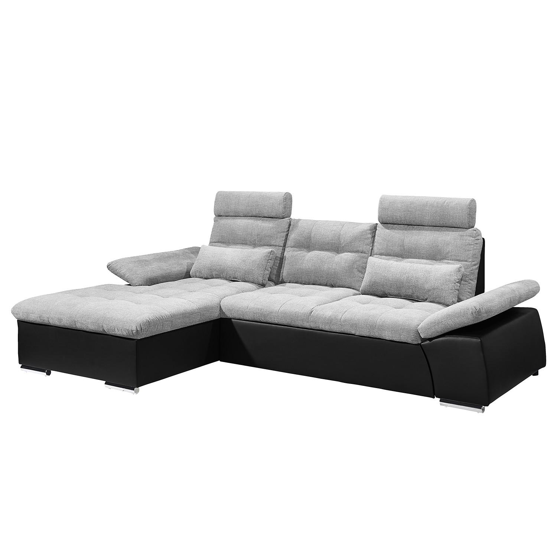 Canapé d'angle Puntiro (convertible) - Imitation cuir / Tissu - Méridienne longue à gauche (vue de face) - Noir / Platine, Fredriks