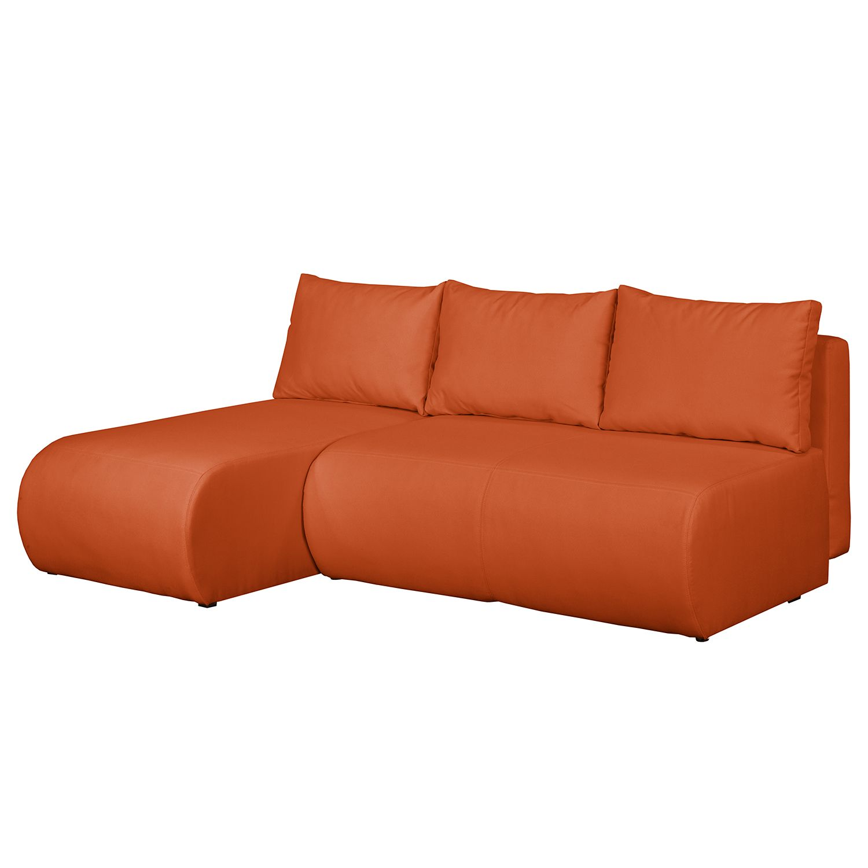 home24 Fredriks Ecksofa Rio Maria S Apricot Strukturstoff 197x75x148 cm (BxHxT) mit Schlaffunktion/Bettkasten Modern
