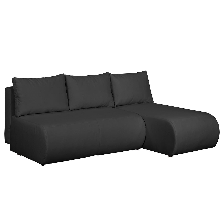 home24 mooved Ecksofa Rio Maria Dunkelgrau Strukturstoff 197x75x148 cm (BxHxT) mit Schlaffunktion/Bettkasten Modern
